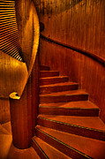 Wooden Stairs Framed Prints - Winding staircase Framed Print by Roman Rodionov