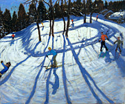 Winter Fun Painting Metal Prints - Winding Trail Morzine Metal Print by Andrew Macara