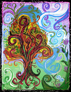 Purple Artwork Mixed Media Posters - Winding Tree Poster by Genevieve Esson
