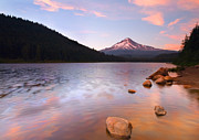 Mt Hood Prints - Windkissed Reflection Print by Mike  Dawson