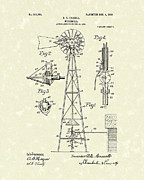 Wind Drawings - Windmill 1906 Patent Art by Prior Art Design