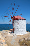 Northeastern Aegean Islands Framed Prints - Windmill 3  Framed Print by Emmanuel Panagiotakis