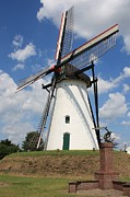 Dutch Landscape Framed Prints - Windmill and Blue Sky Framed Print by Carol Groenen