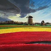 Netherlands Paintings - Windmill and Tulips by Glenn Harden
