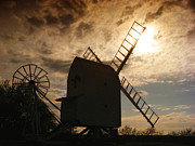 Sunrise Prints - Windmill at dusk  Print by Pixel Chimp