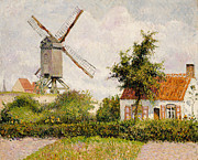 Rooftops Paintings - Windmill at Knokke by Camille Pissarro