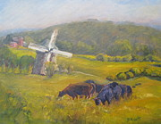 Angus Steer Art - Windmill at Laurel Ridge by B Rossitto