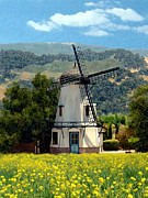 Mustard Yellow Framed Prints - Windmill at Mission Meadows Solvang Framed Print by Kurt Van Wagner