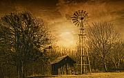 Landscapes Digital Art Prints - Windmill at Sunset Print by Iris Greenwell