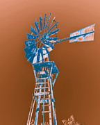 Old Mills Posters - Windmill blue Poster by Rebecca Margraf
