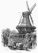 Horse Driven Wagon Framed Prints - WINDMILL, c1870 Framed Print by Granger