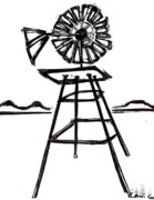 Sterling Drawings - WindMill by Levi Glassrock