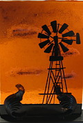 Landscapes Glass Art Originals - Windmill by Lisa Kohn