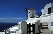 Beautiful Sky Prints - Windmill Mykonos 2 Print by Bob Christopher