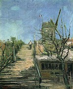 Camille Pissarro Digital Art Posters - Windmill on Montmartre Poster by Vincent Van Gogh
