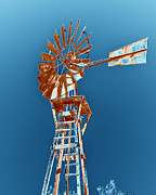 Burnt-orange Prints - Windmill Rust orange with blue sky Print by Rebecca Margraf