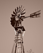Rotate Prints - Windmill Sepia Print by Rebecca Margraf