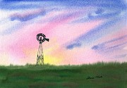 Lush Colors Painting Posters - Windmill Poster by Sharon Mick