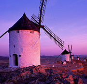 Mancha Posters - Windmills At Dawn, Castile-la Mancha Poster by Brian Lawrence