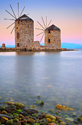 Lagada  Framed Prints - Windmills  Framed Print by Emmanuel Panagiotakis