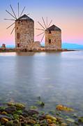 Windmills  Print by Emmanuel Panagiotakis