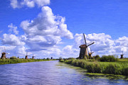 Netherlands Paintings - Windmills in Holland by Dominic Piperata