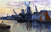 Canals Framed Prints - Windmills in Holland Framed Print by Maximilien Luce