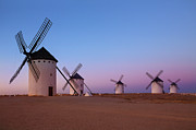 Mancha Framed Prints - Windmills Of La Mancha - Central Spain Framed Print by Steve Allen