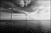 Horizon Wind Framed Prints - Windmills Out At Sea Framed Print by Kenneth McNeil