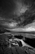 White Clouds Prints - WindNsea Light Found BW Print by Peter Tellone