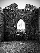 Cemetery Photos - Window at Fuerty Church Roscommon Ireland by Teresa Mucha