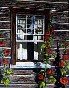 Cabin Window Drawings Prints - Window at Upper Canada Village Print by Joyce Geleynse