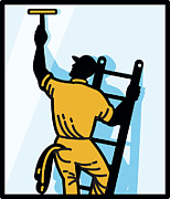Worker Digital Art Framed Prints - Window Cleaner Worker Cleaning Ladder Retro Framed Print by Aloysius Patrimonio