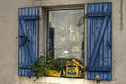 Blue House Framed Prints - Window Clutter Framed Print by Sophie De Roumanie