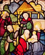 Virgin Mary Prints - Window depicting the Adoration of the Magi Print by French School