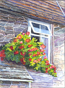 Roof Drawings Posters - Window Garden Poster by Carol Wisniewski