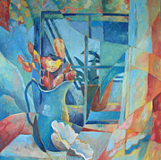 Interior Still Life Painting Metal Prints - Window in Blue Metal Print by Susanne Clark