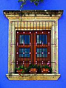 Tlaquepaque Prints - Window in Blue with Baubles Print by Olden Mexico