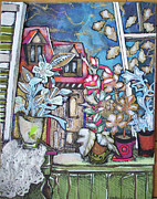 Torn Mixed Media Originals - Window in France by Sandra fw Beaty