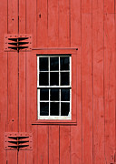 Early American Framed Prints - Window in Red Wall Framed Print by Sabrina L Ryan