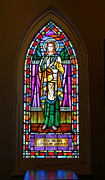 Jesus Christ Icon Metal Prints - Window In Trinity Church V Metal Print by Steven Ainsworth