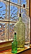 Antique Bottles Art - Window light by Robert Crespin