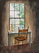 Glass Table Reflection Painting Metal Prints - Window Seat Metal Print by Frank SantAgata