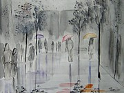 Figures Painting Originals - Window Shopping In The Rain by Lisa Aerts