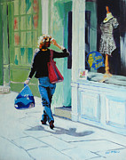 Fashion Retail Art Framed Prints - Window Shopping Framed Print by Neil McBride