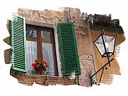 Jim Wright Posters - Window Siena Italy Poster by Jim Wright