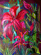 Colored Pencil Mixed Media Posters - Window to the Jungle Poster by Mindy Newman