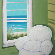 Beach Window Painting Framed Prints - Window to the Sea No. 2 Framed Print by Rebecca Korpita