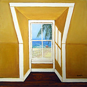 Beach Window Painting Framed Prints - Window to the Sea No. 3 Framed Print by Rebecca Korpita