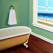 Beach Window Painting Framed Prints - Window to the Sea No. 4 Framed Print by Rebecca Korpita